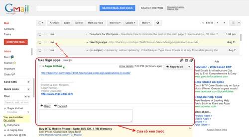 Cửa sổ xem trước của Gmail