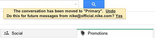 Di chuyển email giữa các tab