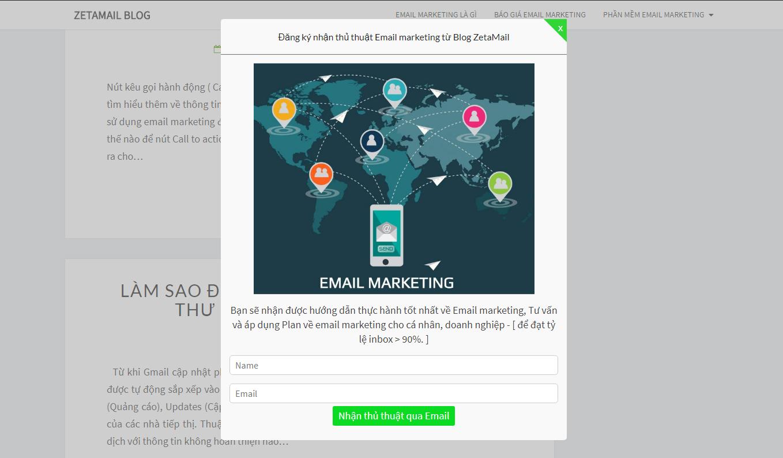 Form đăng ký nhận tin email marketing của Blog Zetamail