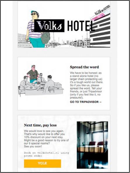 Mẫu email marketing du lịch của Volks Hotel