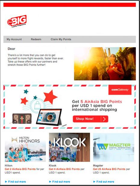 Mẫu email marketing của AirAsia