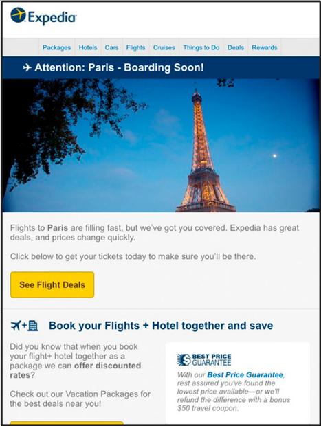 Mẫu email marketing du lịch của Expedia