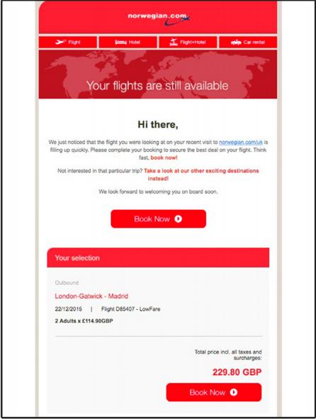 Mẫu email marketing du lịch của Norwegian.com