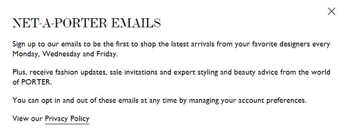 thông báo về việc nhận email marketing từ thương hiệu sẽ tăng mức độ tương tác của người đăng ký email