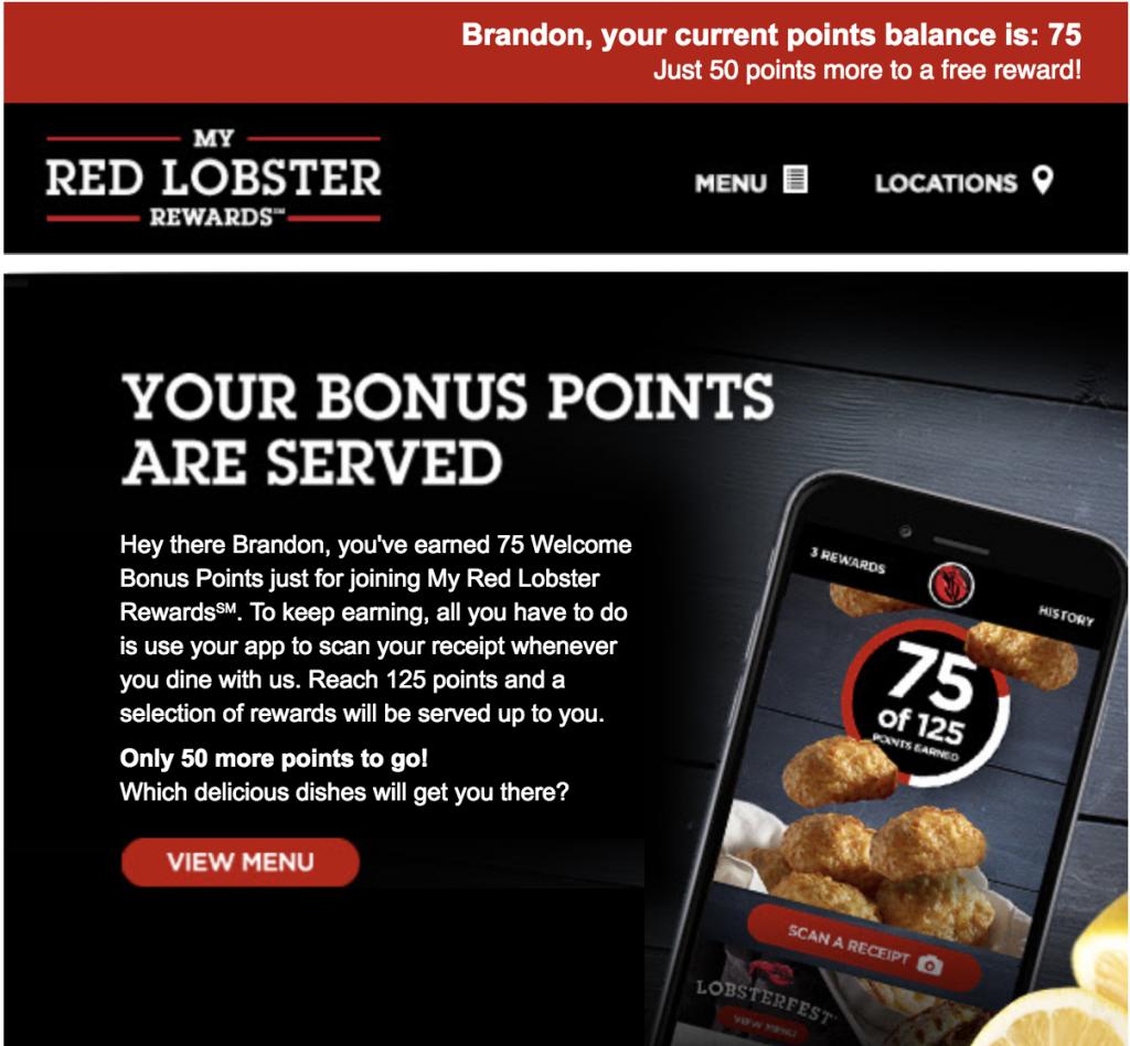 email của Red Lobster được cá nhân hóa