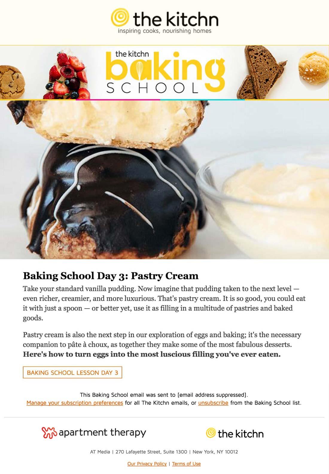 Sử dụng hiệu quả email tự động về bài học làm bánh của Apartment Therapy