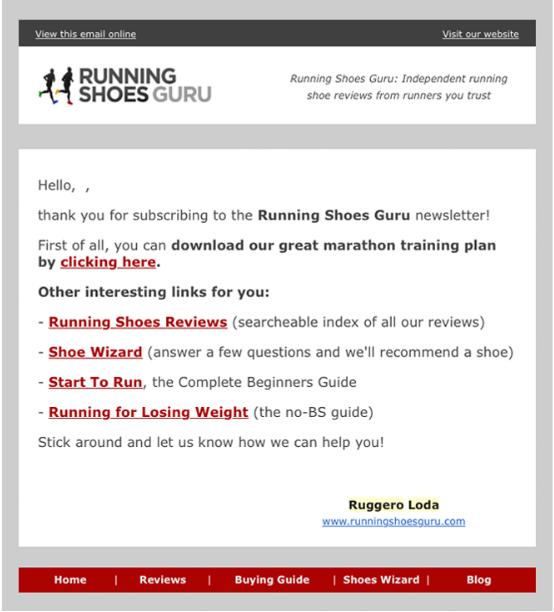 Phễu email bán hàng - Running pro