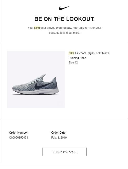 Thông báo thông tin mua hàng bằng email marketing của Nike