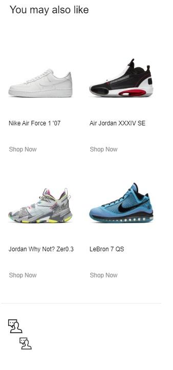 Cung cấp sản phẩm phù hợp bằng email marketing của Nike