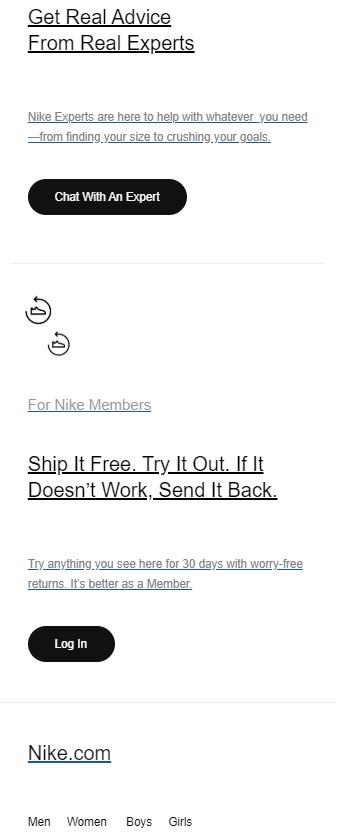Thông báo về cơ hội khi mua hàng bằng email marketing của Nike