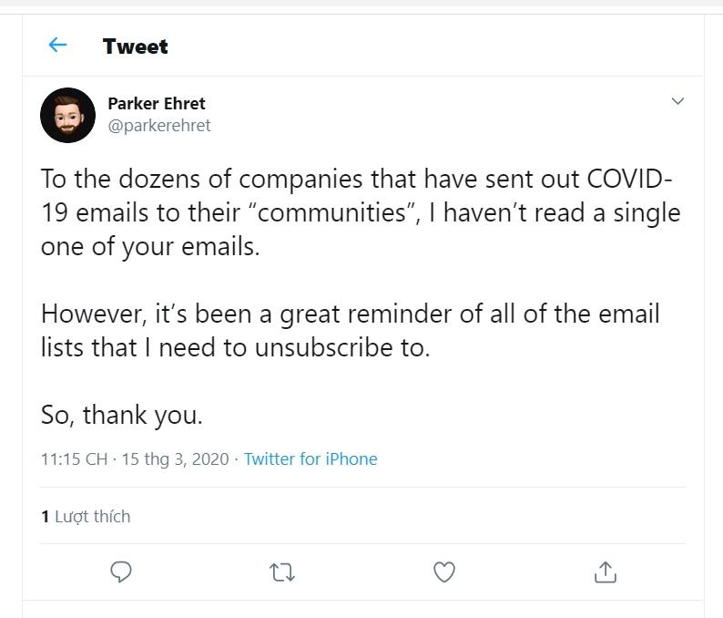 Phản hồi về covid-19 email