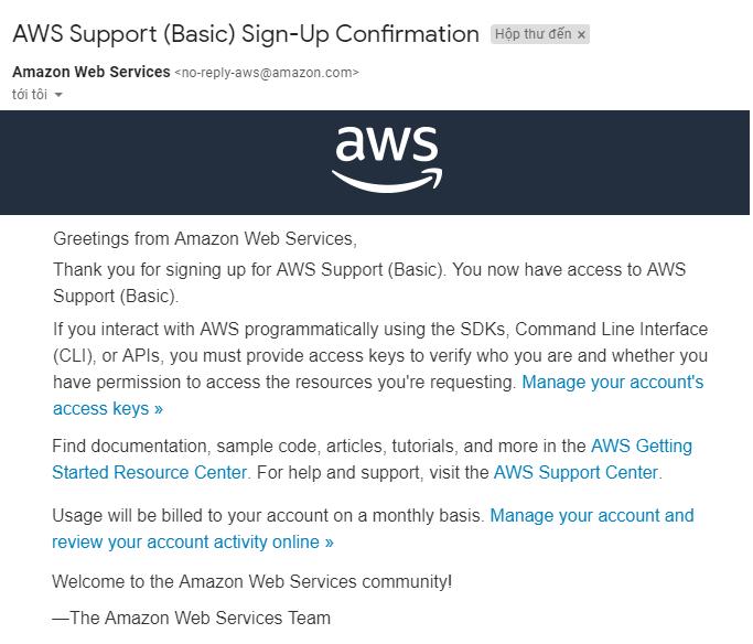 Thư chào mừng của Amazon SES