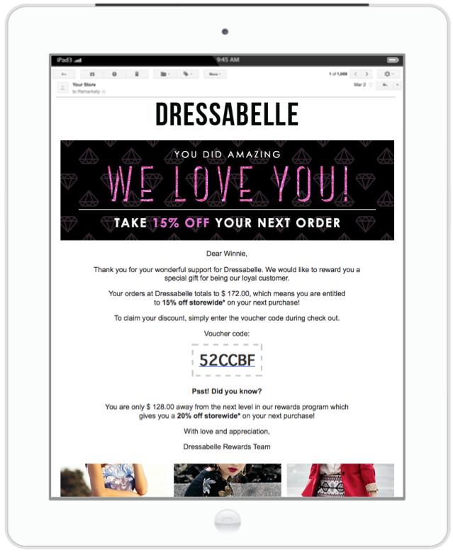 Dressabelle cảm ơn khách hàng đã ủng hộ và gửi ưu đãi 15% cho lần mua hàng tiếp theo
