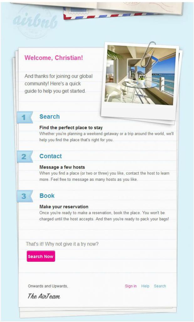 Email chào mừng của airbnb